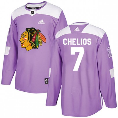 Youth Authentic Chicago Blackhawks Chris Chelios Adidas Fights Cancer Practice Jersey - Purple