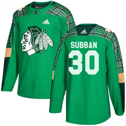 Men's Authentic Chicago Blackhawks Malcolm Subban Adidas ized St. Patrick's Day Practice Jersey - Green